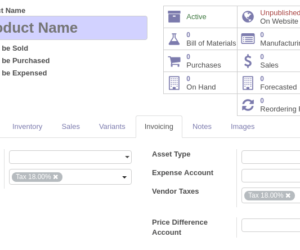 Creating new taxes and setting them as default to product template in Odoo ERP